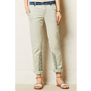Anthropologie Pilcro Lace Panel Chinos in Mint
